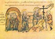 Передбачення Святого Андрія про виникнення Києва й установка хреста на місці майбутньої Андріївської церкви. Ілюстрація з Радзивілівського літопису.